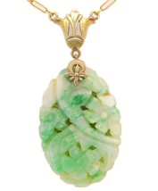 14k Gold Art Deco Carved Genuine Natural Jade Necklace with Paperclip (#... - $495.00