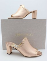 NIB Jimmy Choo Myla 65 Pink Metallic Leather Mules Sandals Gold Studs 7 37 - $345.00