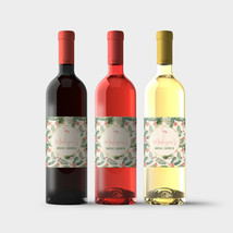 Flamingos and Tropical Flowers Custom Bridal Shower Wine Bottle Labels-s... - $9.41