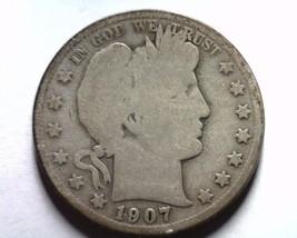 1907-D Barber Half Dollar About Good / Good AG/G Nice Original Coin Bobs Coins - $20.00