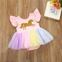 NWT Gold Unicorn Baby Girls Rainbow Tutu Short Sleeve Pink Romper Dress - $8.44