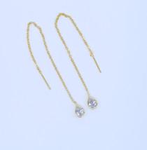 gold filled long tassel chain single stone tear drop cubic zirconia piercing wir - $10.45
