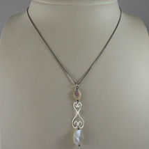 .925 SILVER RHODIUM NECKLACE WITH OVAL MOTHER OF PEARL image 1