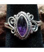 Amethyst Silver handmade gemstone ring size 7.5 #021 - $30.00