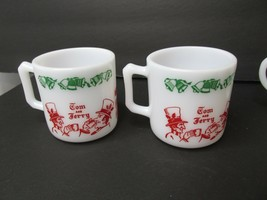 2 Vintage Christmas Tom & Jerry Deer Fawn Hazel Atlas Milk Glass Cups Mu... - $24.74