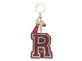 Red Initial R Tassel Bling Faux Suede Stuffed Pillow Key Chain Handbag C... - $12.95