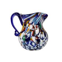 "Vintage Italian Art Glass Millefiori Jug Ewer Creamer Cobalt Blue 3.5"" I... - $34.99"