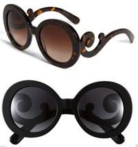 Round Designer Swirl Arms Baroque Large Sunglasses Tortoise, Lepoard, or... - $9.25