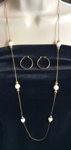 Napier Gold-tone Chain w/ SUMMER WHITE BEAD Necklace & Hoop earrings VTG (7157) - $4.48