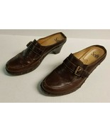 SOFFT Brown Leather Mules Heel Slip On Shoes Women's Size 8 - $19.99