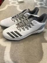 Adidas CG5252 Icon Bounce Metal Mens Baseball Softball Cleats White Silver SZ 12 - $44.55