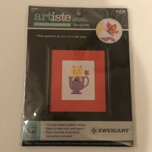 Artiste Mini Counted Cross Stitch Teacup Kitty Zweigart 4x6 Finished Size - $5.93