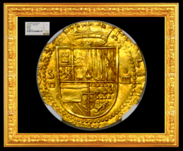 SPAIN 1556-1598 4 ESCUDOS NGC 65 FINEST KNOWN FULL CROWN DOUBLOON COIN G... - $10,950.00