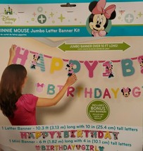 2 Minnie Mouse Jumbo Letter Banners - Happy 1st Birthday - B-day Girl - 10' & 6' - $9.74