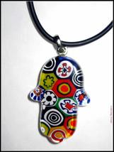 Murano Glass Hamsa Amulet Good Luck Charm Judaica Pendant Murina Pattern Italy image 3