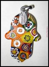 Murano Glass Hamsa Amulet Good Luck Charm Judaica Pendant Murina Pattern Italy image 4
