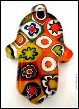 Murano Glass Hamsa Amulet Good Luck Charm Judaica Pendant Murina Pattern... - $15.90
