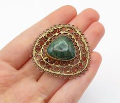 ISRAEL 925 Silver - Vintage Eilat Stone Gold Plated Swirl Brooch Pin - B... - $43.20