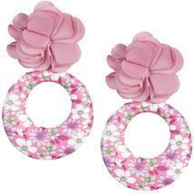 Pink Floral Fabric Drop Hoop Earrings - $13.64