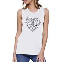 Heart Spider Web Womens White Muscle Top - $14.99