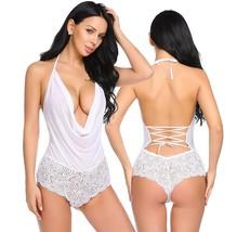 Women Sexy Lingerie Teddy One Piece Lace Halter Babydoll Bodysuit - $39.95