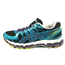 Asics Gel Kayano 20 Road Running Shoes Womens Sz 8.5 Training Sneaker Black Blue - $94.98 CAD