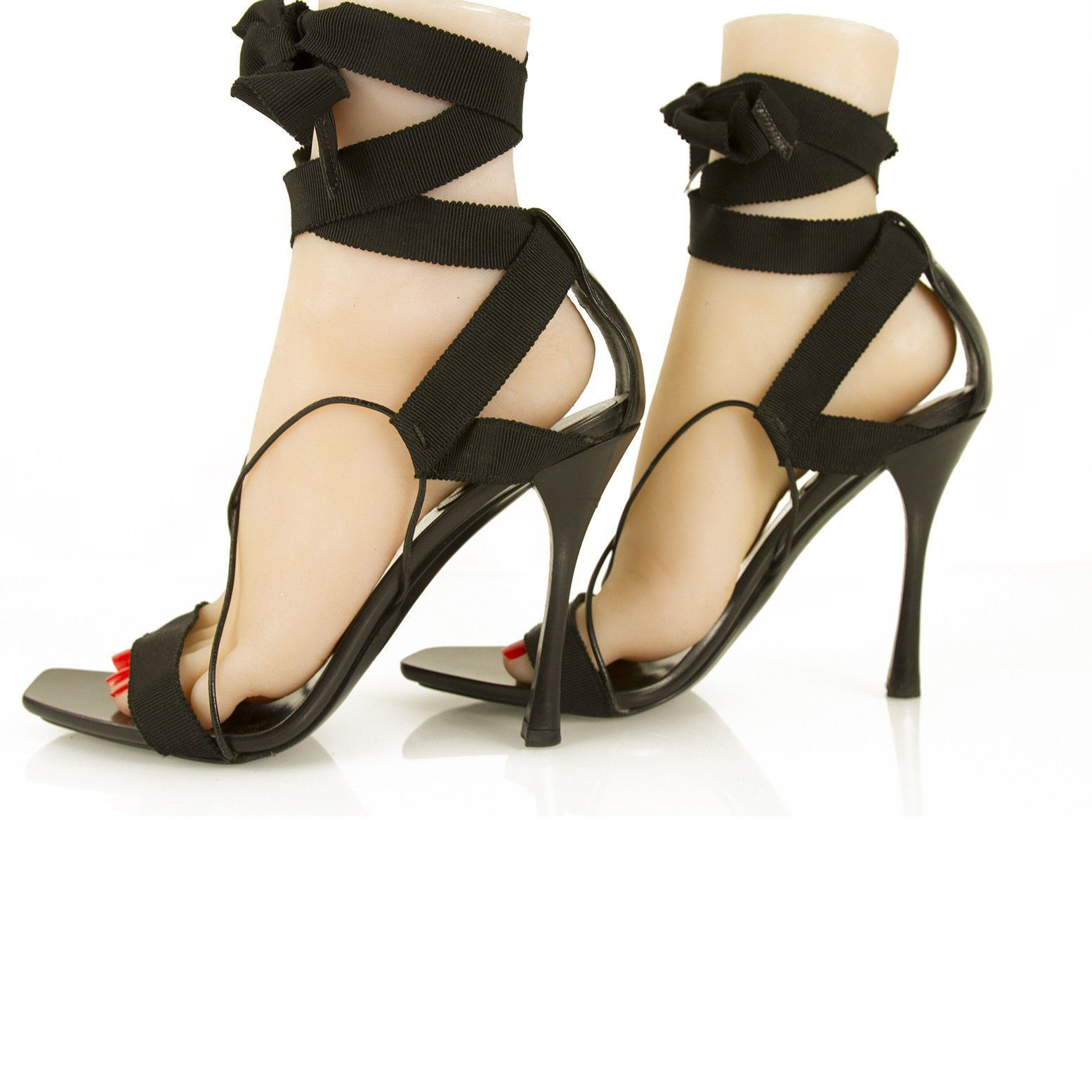 e21b7219ff2e Tom Ford For Gucci Black Ankle Tie Strappy High Heel Sandals Shoes sz 39.5 C