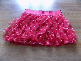 Girl's Size 8 Justice Red White Polka Dot Vertical Ruffled Mini Skirt Sk... - $16.00