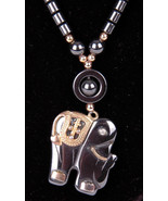 "Magnetic Bead Necklace w Elephant Pendant-17""-Jewelry-Latch Clasp-Gray - $65.44"