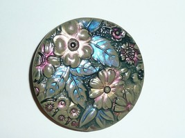 Hand Painted Large Round Moss Clred Flower Floral Art Stone Shank Button... - $15.59