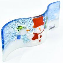 Fused Art Glass Winter Holiday Snowmen Snow Wavy Sun Catcher Handmade in Ecuador image 3
