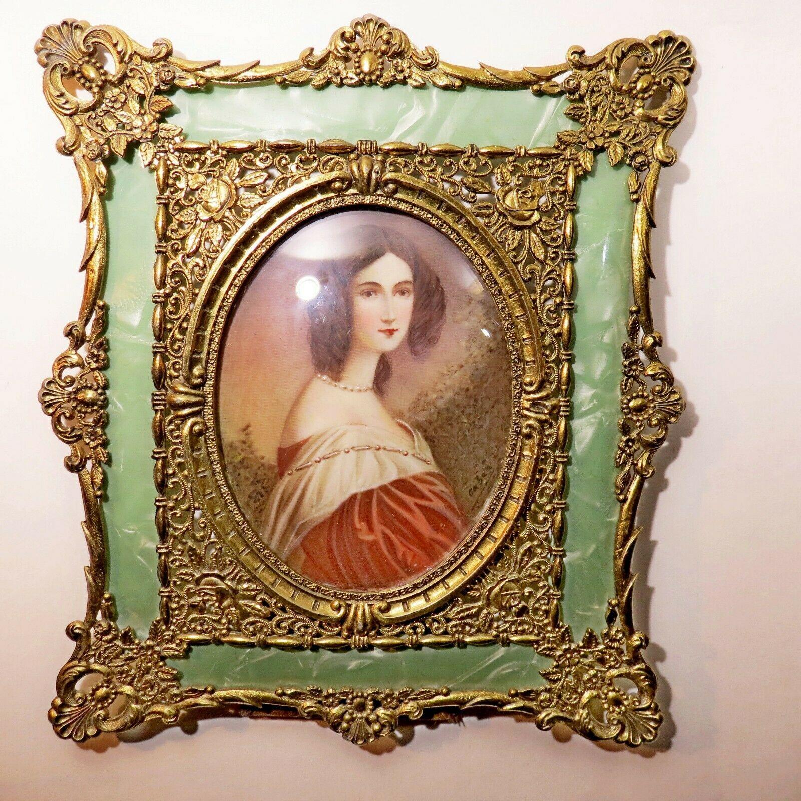 Antique Gold Lead Frame Celluloid Miniature Portrait Painting 1860 Cabán France