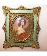 Antique Gold Lead Frame Celluloid Miniature Portrait Painting 1860 Cabán... - $643.49