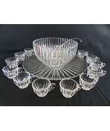 Heisey Elegant Glass Crystolite 15 Pc Punch Bowl Set W/ Under Plate Ladl... - $349.00