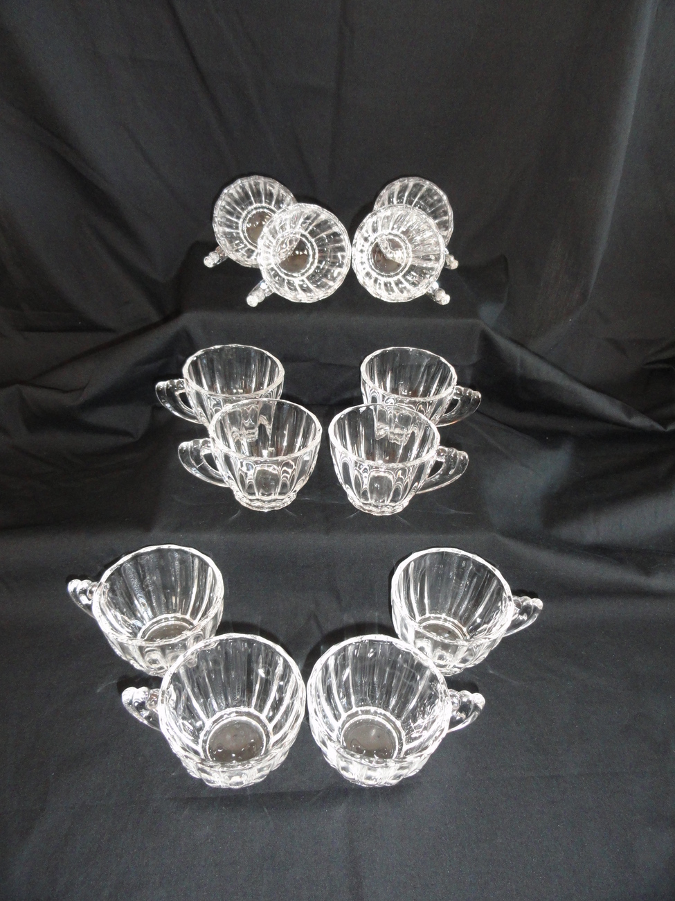 Heisey Elegant Glass Crystolite 15 Pc Punch Bowl Set W/ Under Plate Ladle & Cups