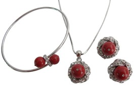 Christmas Gift in Red Pearl Pendant Necklace Earrings & Bracelet - $32.23