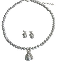 Grey Pearls Collection Customize Wedding Jewelry Necklace Earrings - $40.68