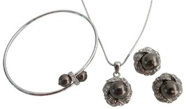 Chocolate Brown Pendant Necklace Stud Earrings & Bracelet - $32.23