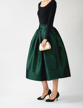 A-line Pleated Taffeta Skirt Ruffle Plus Size Pleated Skirt Black Emerald Green image 6
