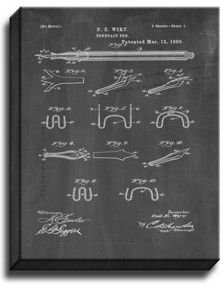 Primary image for Fountain Pen Patent Print Chalkboard on Canvas