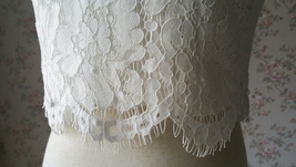 White Sleeveless Lace Tank Tops Bridesmaids Lace Top Crop Top Plus Size Lace Top image 7