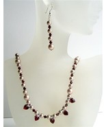 Garnet Swarovski Crystals Heart Dangling Necklace Bridal Jewelry - $41.98