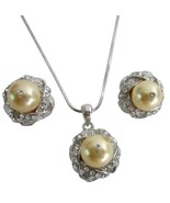 Pearls Necklace Set Swarovski Light Gold Low Pr... - $22.48