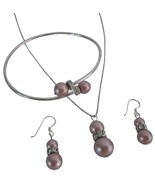 Powder Rose Alluring Color Necklace Sterling Earring Cuff Bracelet - $27.68