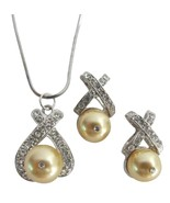 Gift Jewelry Yellow Pearls Bright Gold Pearls Necklace Earrings - $20.53