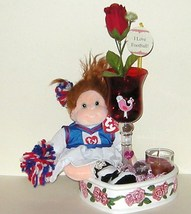 Beanie Kids Ginger Cheerleader Wine Glass Vase Candle Ceramic Heart Dish 98 - $14.47 CAD