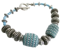 Shop Chunky Tribal Handmade Turquoise Blue Silver Beads Bracelet - $15.33