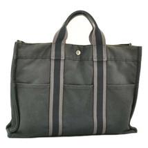 HERMES Fourre Tout MM Tote Bag Black Cotton Auth 9052 - $110.00