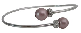 Anniversary Gift Powder Rose Color Pearls Silver Cuff Bracelet - $15.33