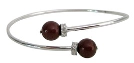 Inspired Design Wine Color Pearls Silver Cuff Bracelet Superb Price - $15.33